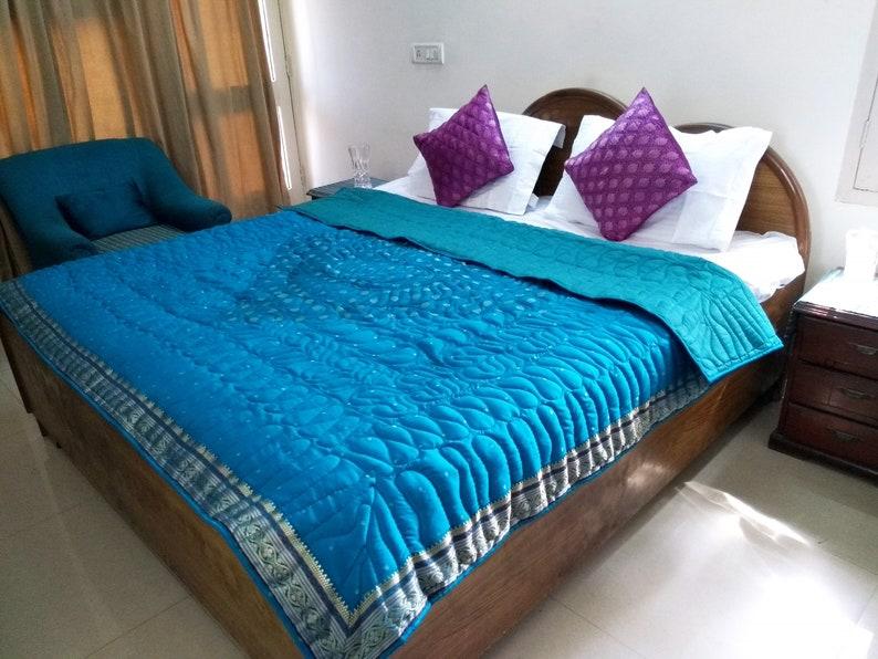Festival  Decor Throw Blanket Blue Quilt FREE  SHIPPING Silk Queen Bedding set