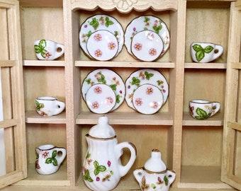 1//12th Dolls House Miniature Kitchen Dining Ware Floral Porcelain Coffee Tea Set
