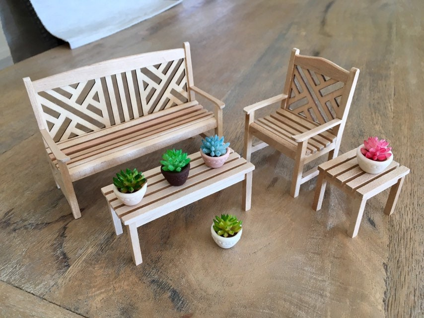 Magnificent Garden Bench Table Set 4Pc Dollhouse 1 12Th Scale Miniatures Wood Chair Bench Couch Sofa Doll Furniture Scandi Creativecarmelina Interior Chair Design Creativecarmelinacom