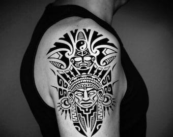 b8aacc814 Aztec Half Sleeve Temporary Fake Tattoo Sticker (Set of 2)