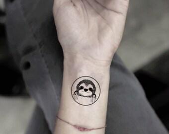 6c2b5f56eec79 Circle Sloth Temporary Fake Tattoo Sticker (Set of 2)