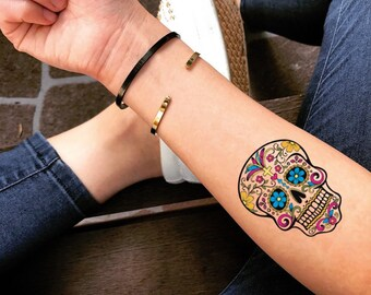 795bbd5c6 Sugar Skull Temporary Fake Tattoo Sticker (Set of 2)
