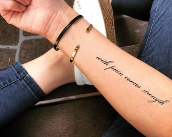 6f33498a4c24c With pain comes strength Temporary Fake Tattoo Sticker (Set of 2)
