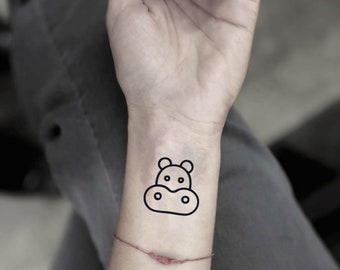 aaf5c57e3 Hippo Temporary Fake Tattoo Sticker (Set of 2)