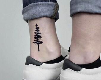 d448e78c5 Pine Tree Temporary Fake Tattoo Sticker (Set of 2)