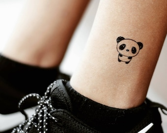 b3168b3733148 Cute Cartoon Panda Temporary Fake Tattoo Sticker (Set of 2)