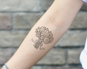 5a054bba681e1 Bunch Of Flowers Temporary Tattoo Sticker (Set of 2). OhMyTat