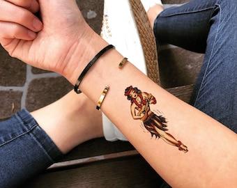 c2d654e3fafba Hula Girl Temporary Fake Tattoo Sticker (Set of 2)