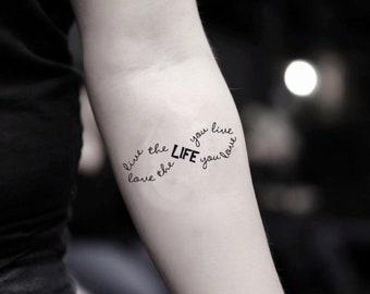 0bdc87374 Live the Life You Love Temporary Fake Tattoo Sticker (Set of 2)