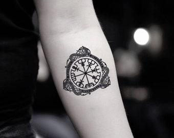 a829fa7881c11 Vegvisir Compass Temporary Fake Tattoo Sticker (Set of 2)