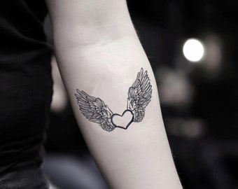 955fdfe9d Heart with Angel Wings Temporary Fake Tattoo Sticker (Set of 2)