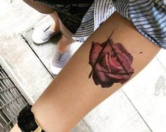 07cb0e918 Purple Rose Temporary Fake Tattoo Sticker (Set of 2)