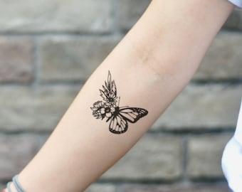 209227da84c08 Butterfly Flower Temporary Tattoo Sticker (Set of 2)