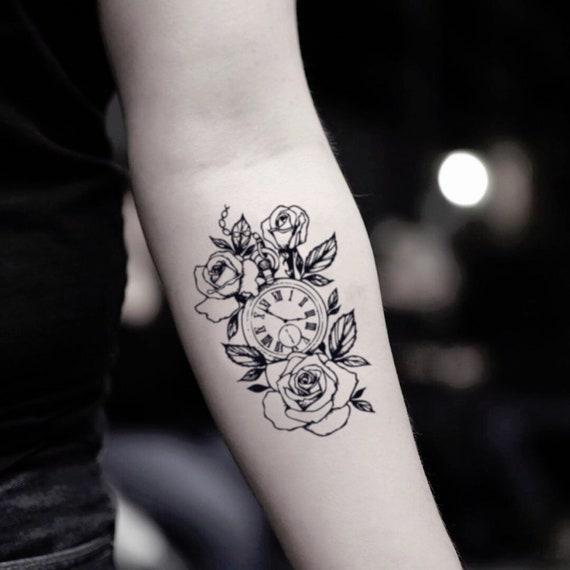 Horloge rose temporaire faux tatouage autocollant (lot de 2)