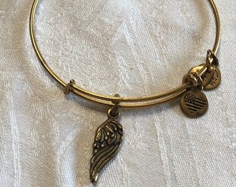 2d4ff00dc6d Alex and Ani gold tone bracelet with angel wing