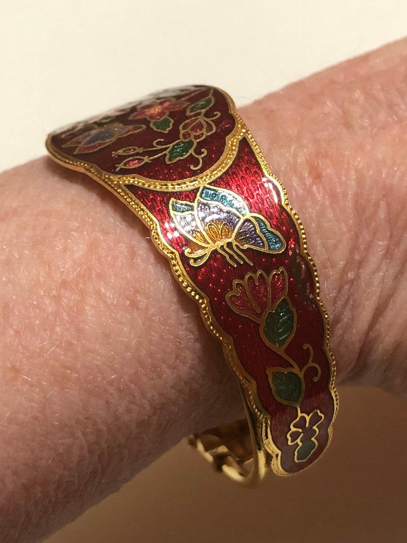 Cloisonn\u00e9 red cuff bracelet
