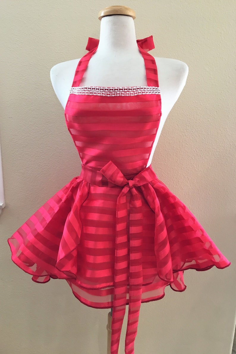 Red Striped Sheer Lingerie Babydoll DressApron