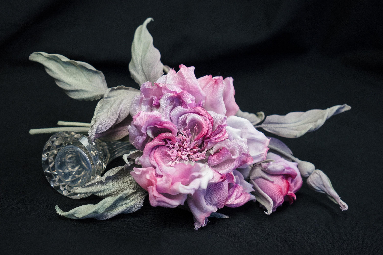 Romantic Brooch Pink rose floral brooch Artificial silk  ec2fca62269