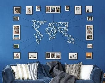 Metal Wall Art - World Map White - Weltkarte - Mappa Del Mondo - Carte Du Monde - Gifts for New Homes - Interior Decoration - Travel