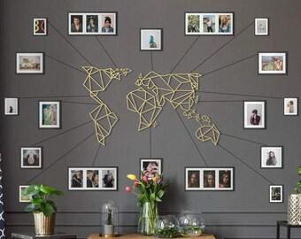 Metal Wall Art - World Map Gold - Weltkarte - Mappa Del Mondo - Carte Du Monde - Gifts for New Homes - Interior Decoration - Travel