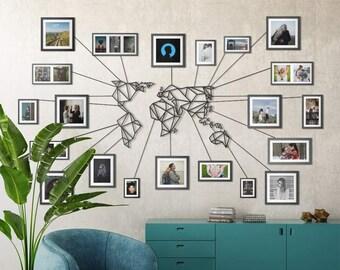 Metal Wall Art - World Map Black - Weltkarte - Mappa Del Mondo - Carte Du Monde - Gifts for New Homes - Interior Decoration - Travel