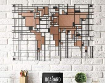 Metal Wall Art - Mondrian World Map - Weltkarte - Mappa Del Mondo- Gifts for New Homes - Interior Decoration - Steel Art - Drawing - Travel
