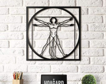 Metal Wall Art - Da Vinci - Vitruvian Man - Gifts for New Homes - Interior Decoration - Drawing - Steel Art - Golden Ratio