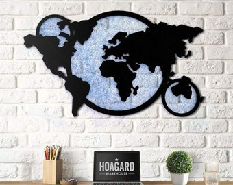 Metal Wall Art - String World Map  -Weltkarte - Mappa Del Mondo - Gifts for New Homes - Interior Decoration - String Art - Drawing - Travel