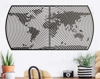 Metal Wall Art - Hypnos World Map - Weltkarte -  Mappa Del Mondo - Gifts for New Homes - Interior Decoration - Steel Art - Line Art - Travel