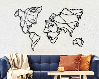 Metal Wall Art - Faces of World Map - Weltkarte - Mappa Del Mondo - Gifts for New Homes - Interior Decoration - Line Art - Travel