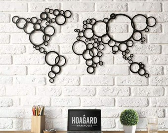 Metal Wall Art - Circle World Map  - Weltkarte - Carte Du Monde - Gifts for New Homes - Interior Decoration - Steel Art - Drawing - Travel