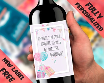 Happy Birthday Bday Baby Water Wine Labels For Bottle Funny Cute Card Teenage Girl Boy Children Party Decor Design Adventure Stickers Smile