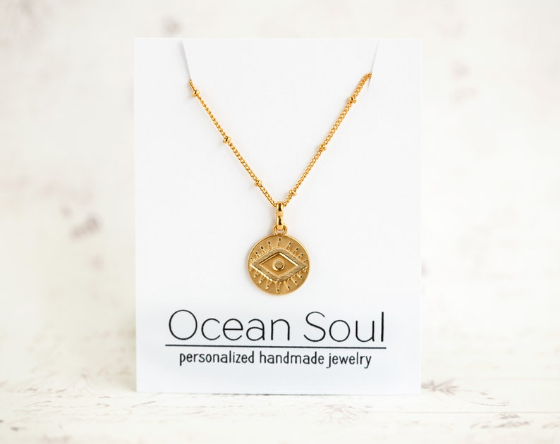 Evil eye necklace Gold Coin necklace Gold disc necklace Gold minimalist Necklace Dainty necklace Bohemian Evil Eye Charm necklace 5046