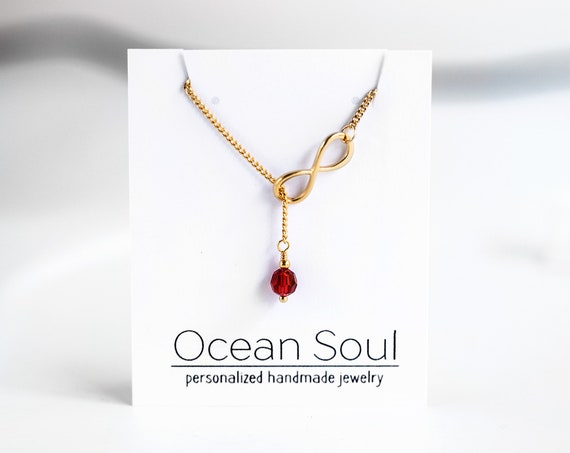 Ruby Necklace Gold Infinity necklace Birthstone necklace July Birthstone Personalized Gift For Mom Birthday gift Birthstone Necklace 5011.