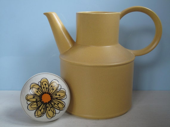 Midwinter Stonehenge Flowersong England Coffee Pot Tanne Yellow Sunflower Flower Yellow Flower Vintage