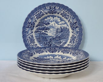 Vintage Set of Six 6x Soup Plate Olde Country Castles Blue England Transware Ceramic Country House Country Deep Plate Salad Plate Toil De Jouy