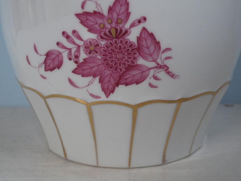 Vintage A Beautiful Vase Herend Hungary Apponyi Purple Gold Edition Gold Rim 15 cm Porcelain Hungary