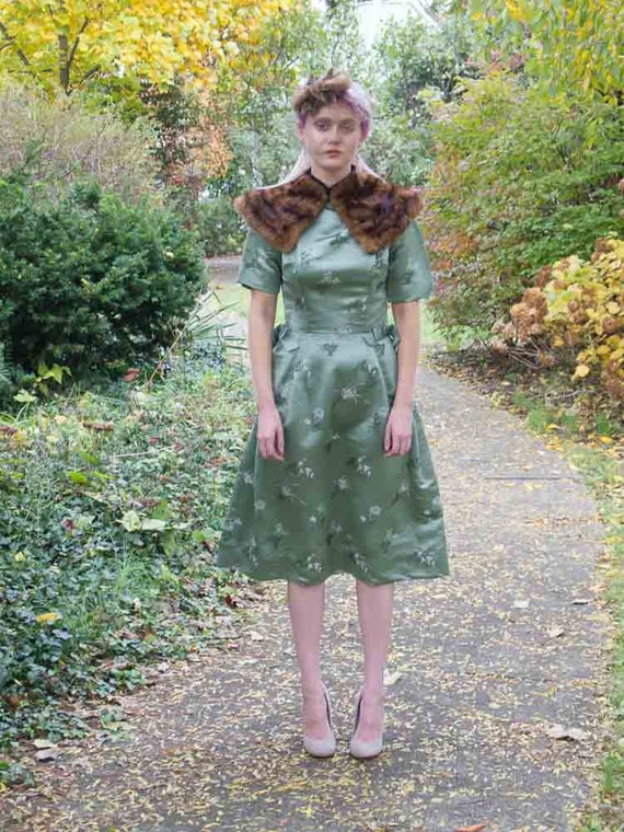 50's green satin dress
