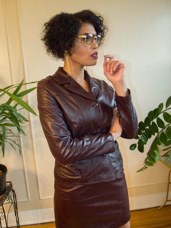 chocolate brown vintage leather suit