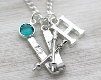 Skiing Necklace, Skier Gift, Skis, Ski Poles, Personalised Initial Necklace, Ski Charm Necklace, Swarovski Birthstone Crystal