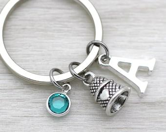Thimble Keyring, Sewing Keychain, Heart Gift, 3D Thimble, Sewist Keyring, Sewer Gift, Swarovski Charm, Swarovski, Personalised Keyring