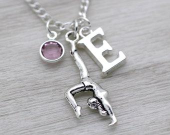 Gymnast Necklace, Gymnastics Necklace, Gymnast Gift, Gymnast Jewelry, Dance Necklace, Personalised Necklace, Swarovski Birthstone
