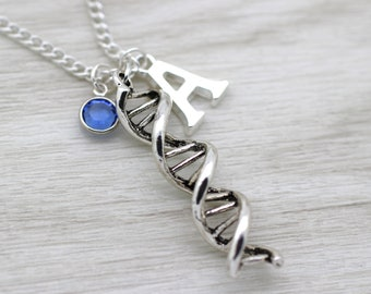 DNA Helix Keyring, Family Keychain, DNA Gift, Science Gift, Biology, Initial Necklace, Charm Necklace, Swarovski Birthstone Crystal