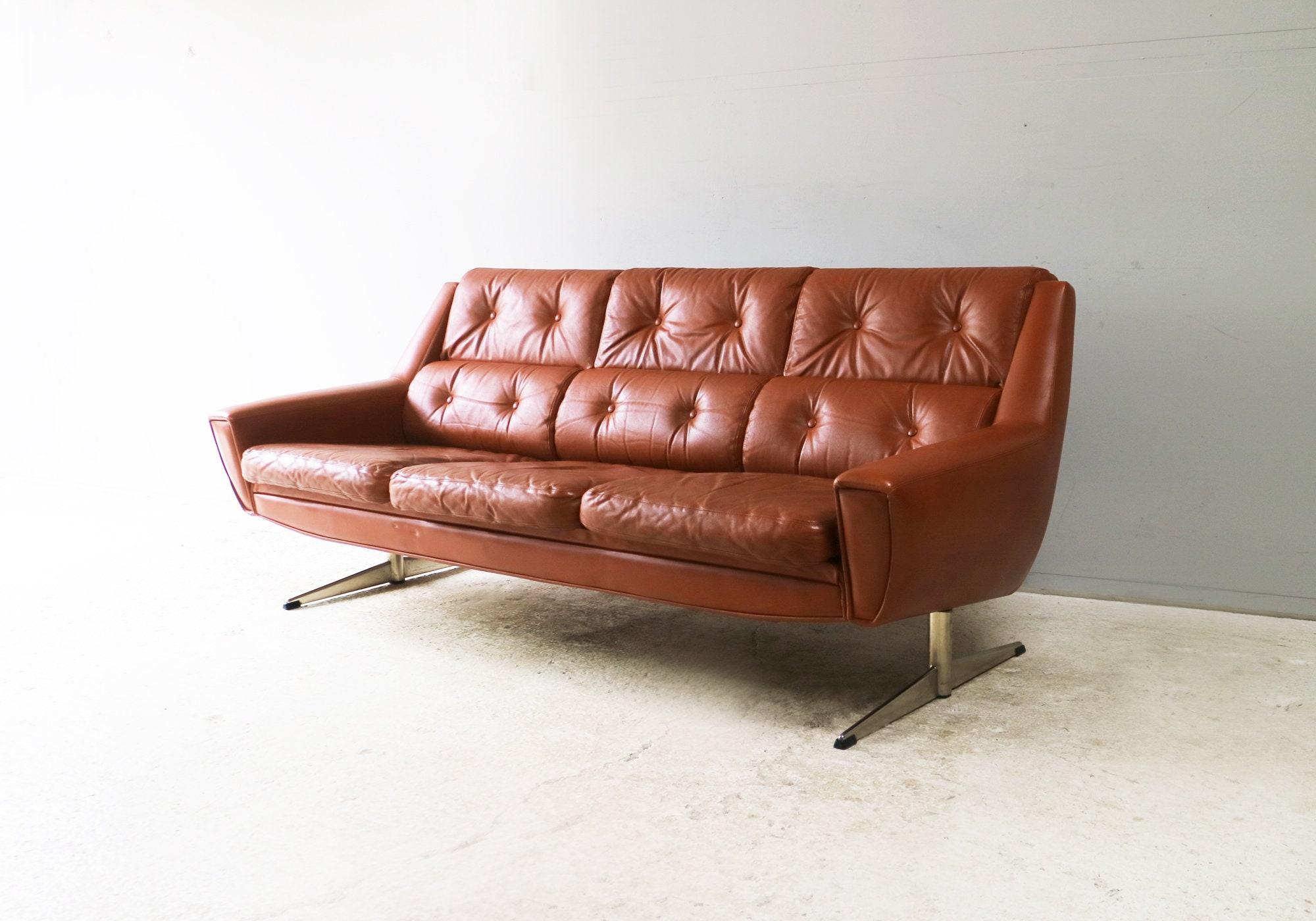 Stunning 1960 S Danish Mid Century Leather Sofa