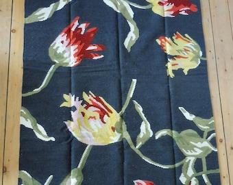 Herrlicher Web Teppich  Kelim Kilim Blumen Wolle 195 x 133 cm handmade   Wolle Vintage Interieur