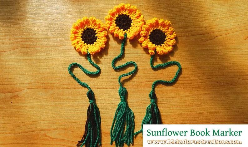Crochet Sunflower Book Marker PDF pattern image 0