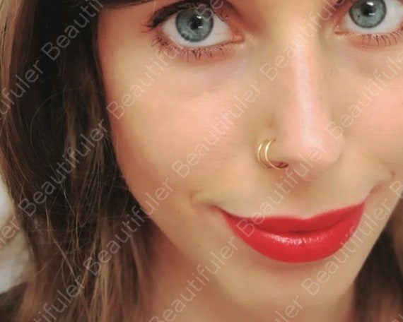 14k Gold Filled Fake Double Nose Ring Piercing Clip On Nose Etsy
