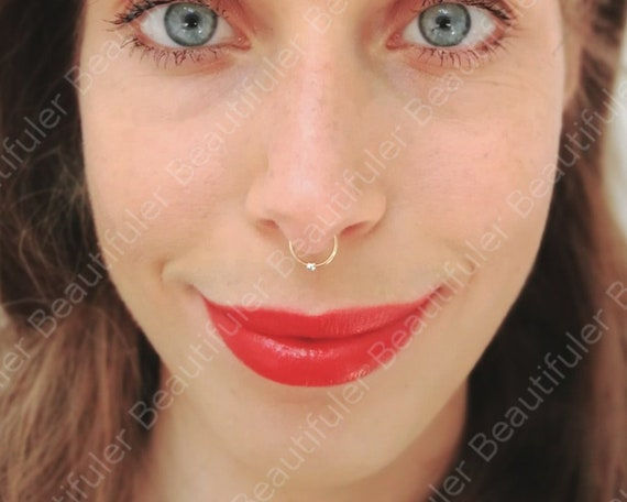 14k Gold Filled Fake Septum Ring With Silver Bead Gold Etsy