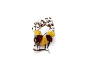 Natural Baltic Amber Brooch Polished Beads Metal Cats Brown Butter Colors Women