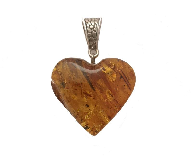 Natural Baltic Amber Pendant Heart
